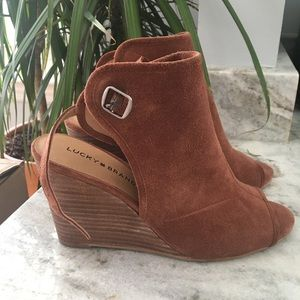 Lucky Brand Open Toe Wedge Bootie